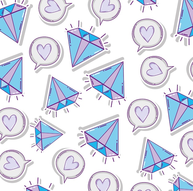 Diamonds and hearts pattern background vector illustration graphic design