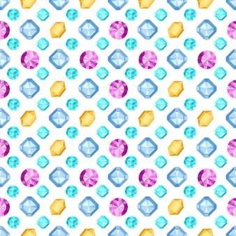ダイヤモンドやブリリアントのシームレスなパターン。宝石のパターン。図。