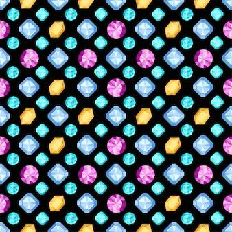 ダイヤモンドやブリリアントのシームレスパターン。暗い背景に宝石宝石。フラットなデザインの宝石。パターンは、包装紙、背景、布印刷、webページの背景、壁紙として使用できます。