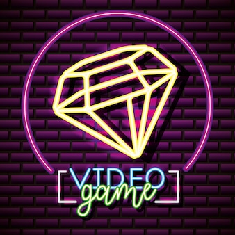 Diamons video game label, brick wall, neon style