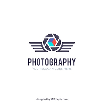 Diaphragm photography logo in flat style