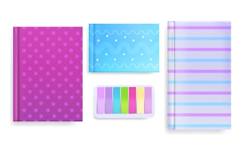Diary and memo notes illustration of book or copybook with color ornament or pattern cover.