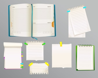 Diary and message notes illustration of paper sheets for notes with bookmarks