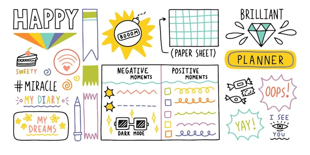 Diary bullet cute journal border elements note icon sticker for school vector illustration