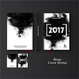 Diary cover template with black stains