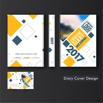 Diary cover template with geometric shapes