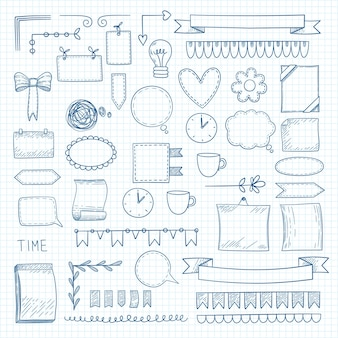 Diary doodle notes. hand drawn graphic shapes frames for notebook