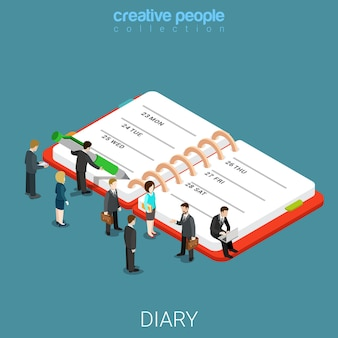 Diary schedule calendar planner flat isometric business