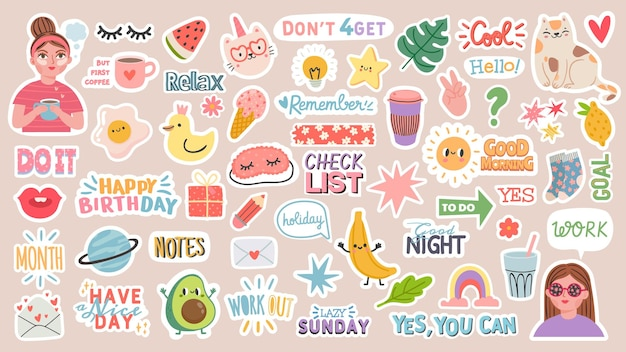 Diary stickers. words, characters and quotes for planner journal. trendy notebook decor with girls, food and cats. daily reminder vector set as coffee cup, love letter, rainbow and light bulb