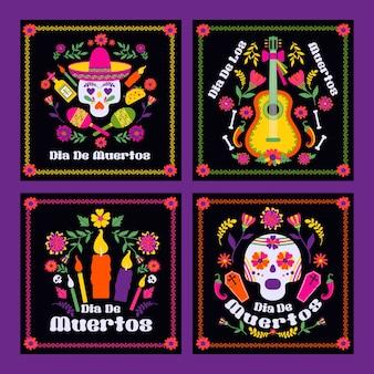 Диас-де-лос-муэрто, праздничная открытка мексиканской фиесты Premium векторы
