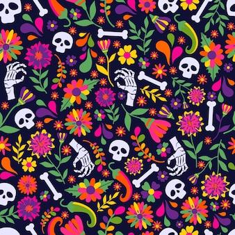ディアスデロスムエルト、メキシコのフィエスタのお祝いのシームレスパターン