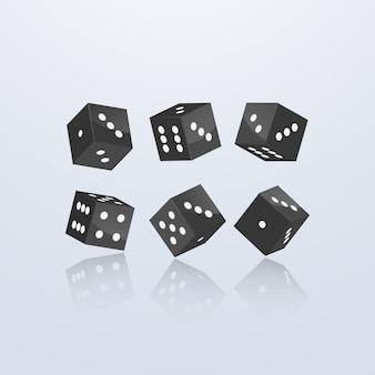 Dice of black color in different perspective on a light background.   illustration
