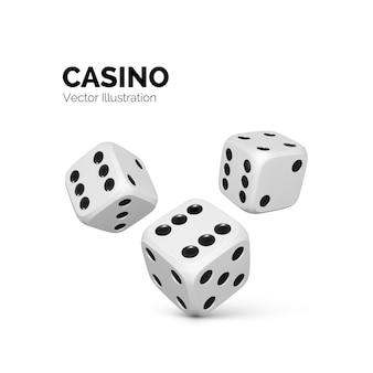 サイコロ。カジノと賭けの背景。白で隔離のベクトル図