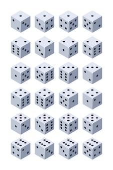 Кости для игры. различные изометрические 3d кости для игр