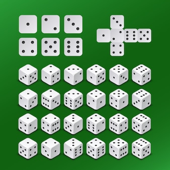 Dice gambling cubes in all possible positions vector set. dice cube for play gambling game illustration