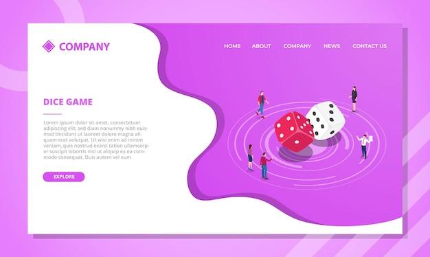 Concetto di gioco dei dadi per modello di sito web o homepage di atterraggio con vettore di stile isometrico