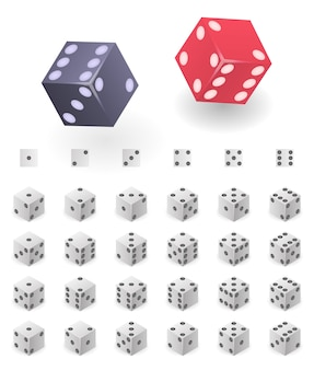 Dice icons set. isometric set of dice vector icons for web design isolated on white background