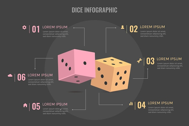 Dice infographic concept
