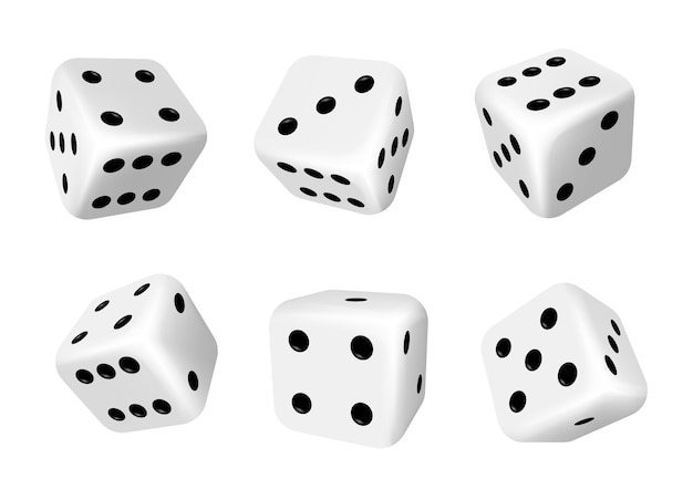 Dice isolated 3d objects of gambling games