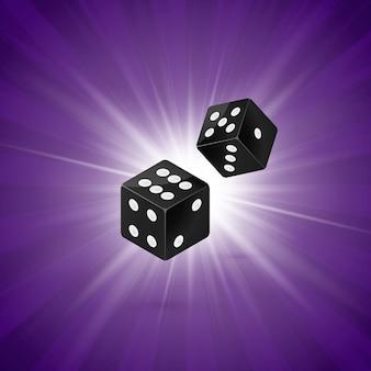 紫色のレトロな背景にサイコロします。 2つのサイコロカジノギャンブルテンプレートコンセプト。勝者はカジノで賭けます。図