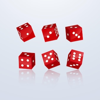 Dice of red color in different perspective on a light background.