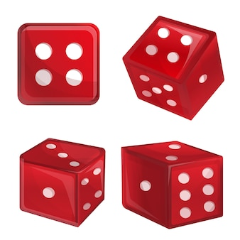 Dice set, cartoon style