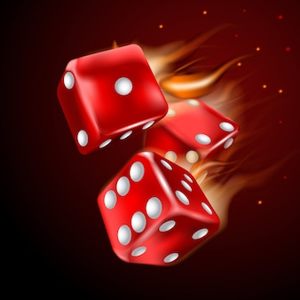Dices set with flame on dark background