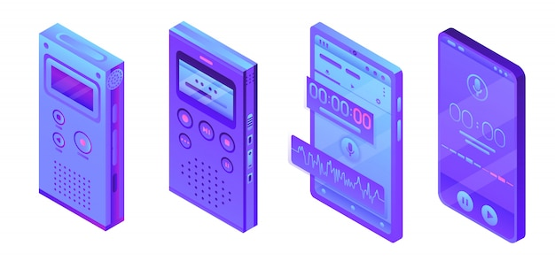 Dictaphone icons set, isometric style