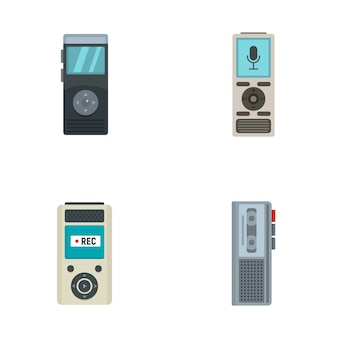Dictaphone icons set