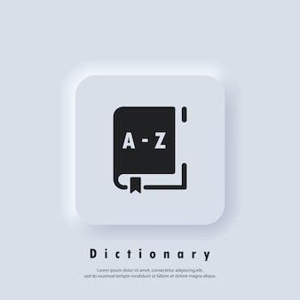 Dictionary icon. glossary. badge with book. dictionary logo. library icon. vector eps 10. ui icon. neumorphic ui ux white user interface web button. neumorphism