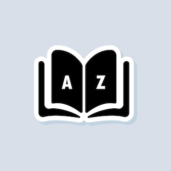 Dictionary sticker. glossary. badge with book. dictionary logo. library icon. vector on isolated background. eps 10
