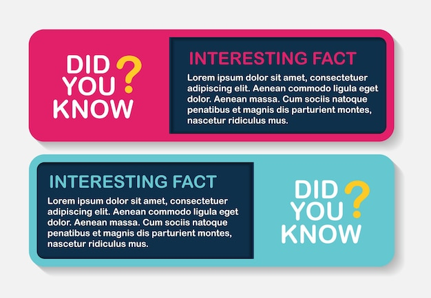 Did you know interesting fact label sticker set.