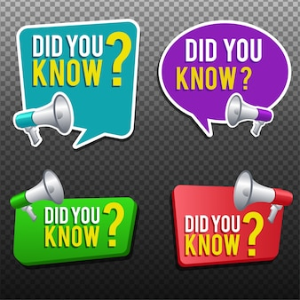 Did you know label banner sticker with speech bubble Premium Vector