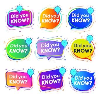 ライフハック広告教育ビジネスのためのラベルセットグラデーションモダンスタイルをご存知ですか