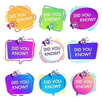 Did you know labels. interesting facts speech bubbles, knowledge base label and social media faq banner isolated  badges set