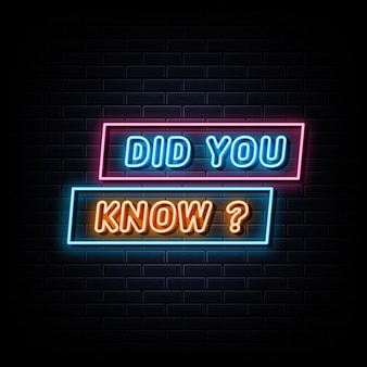 Did you know neon sign design element light banner