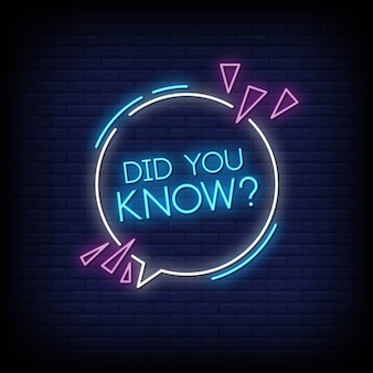 Did you know neon signs vector