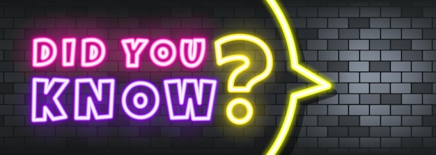 Did you know neon text on the stone background. did you know. for business, marketing and advertising. vector on isolated background. eps 10.