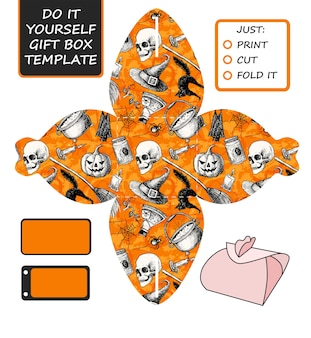 Die cut box template for halloween