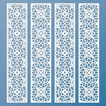 Die and laser cut decorative lace borders patterns. set of bookmarks templates.