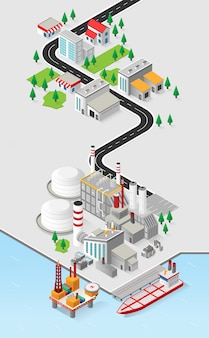 Diesel oil energy, diesel oil power plant with isometric graphic