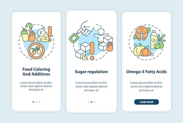 モバイルアプリのページ画面にオンボーディングするダイエットと過活動行動。砂糖規制ウォークスルー3ステップの概念を備えたグラフィックの説明。線形カラーイラストとui、ux、guiベクトルテンプレート