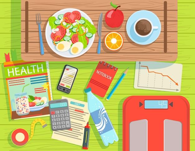 Вид сверху элементов диеты и потери веса сверху