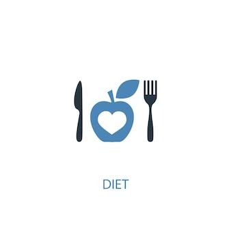 Концепция диеты 2 цветной значок. простой синий элемент иллюстрации. дизайн символа концепции диеты. может использоваться для веб- и мобильных ui / ux