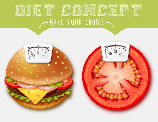 Концепция диеты еда с весами для весов