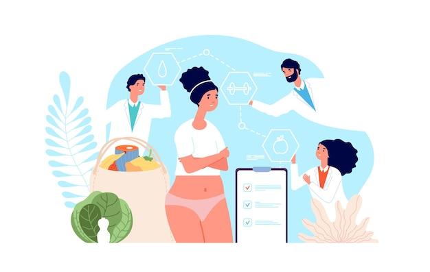 다이어트 개념. 건강한 금식, 맛있는 해독. 의사와의 신진 대사, 비만 치료. 영양사, 개인 치료 그림. 체중 비만, 영양 다이어트, 영양사 영양사
