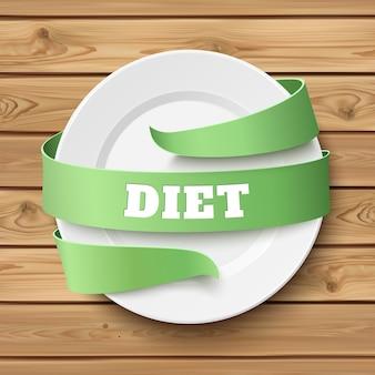 다이어트, 개념적 배경. 나무 테이블에 주위 녹색 리본으로 빈 접시. 나무 판자. 삽화.