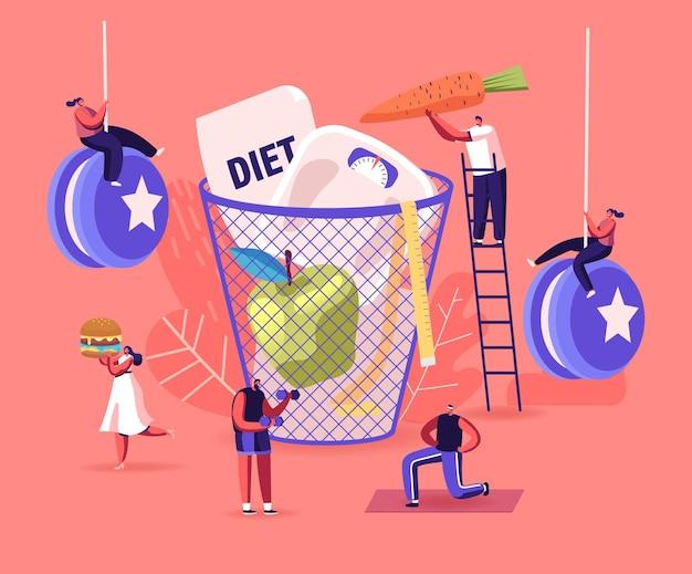 Концепция отказа диеты. персонажи мужского и женского пола, наслаждающиеся нездоровой нездоровой пищей.