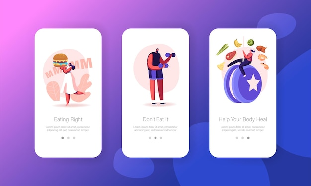 Diet failure, disruption of healthy eating and lifestyle mobile app page screen template