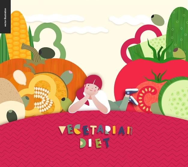 Diet food composition background